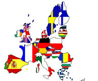European Union. Countries and flags on map Vector Illustration