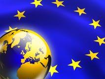 European union. Flag and globe. Digital illustration Stock Photos