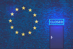 The European Union against illegal immigrants. Political metaphor royalty free illustration