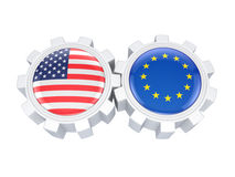 European Union and American flags on a gears. Isolated on white background.3d rendered Royalty Free Stock Photography