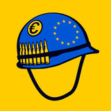 European Union Army. METAPHOR MEANING: Blue Helmet with symbol of European union. Metaphor of joint EU army - military power and defence force to protect Stock Photo