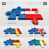 European Union and Austria, Belgium, United Kingdom, Germany, Ireland Flag. 3d vector puzzle. Set 01. Stock Photo