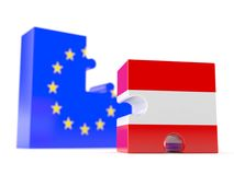 European union with austria. Isolated on white background Stock Photos