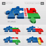 European Union and Belarus, Bulgaria, Poland, Hungary, Moldavia Flag. 3d vector puzzle. Set 03. Stock Photography