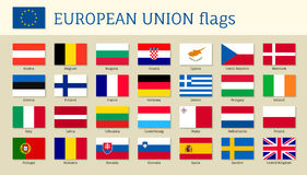 European union big set flags. Twenty eight, 28 EU member countries, political and economic union in 2017, single market and free movement. Vector flat style Royalty Free Stock Photos
