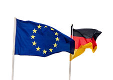 The European Union blue flag with Germany flag, wave. Royalty Free Stock Image