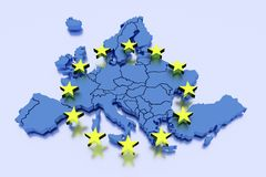 European Union in blue and yellow Royalty Free Stock Photo