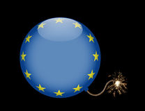 European Union Bomb Crisis Symbol. Bomb with glowing match cord symbolizing the crisis of the European Union Royalty Free Stock Photo