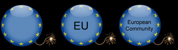 European Union Bomb Crisis Symbol. Bomb with glowing match cord symbolizing the crisis of the European Union Royalty Free Stock Photography