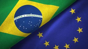 European Union and Brazil two flags textile cloth fabric texture. European Union and Brazil flags together relations textile cloth fabric texture stock images