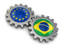 European union and Brazilian flags on a gears (clipping path included) Stock Images