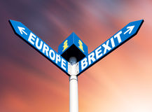European Union and Brexit road signs Stock Photo