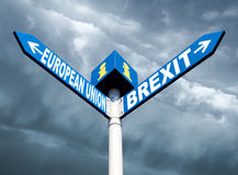 European Union and Brexit road signs Stock Photos
