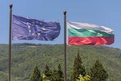 European Union and Bulgaria flags. Stock Photos