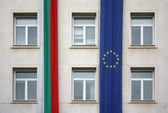 European Union and Bulgaria flags, Sofia Royalty Free Stock Photos