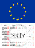 European Union calendar2017. Calendar for 2017 with the European Union flag Stock Images