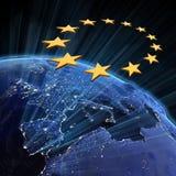 European Union city lights. Earth map from NASA royalty free illustration
