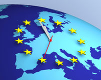European Union Clock 3D. Concept euro eurogroup europe european stock illustration