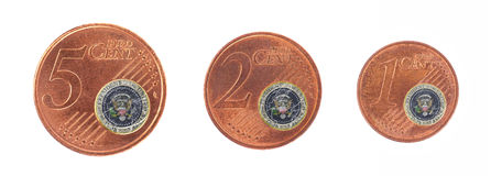 European union concept - 1, 2 and 5 eurocent Royalty Free Stock Photo