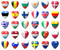 European Union countries flags wrapped in 3d heart Royalty Free Stock Image