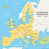 European Union Countries Political Map 2015 Royalty Free Stock Image