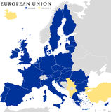 European Union Countries Political Map Outline. With national borders. Member countries in blue and candidates in yellow color. Isolated on white background Stock Photo