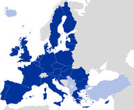 European Union Countries Political Map Silhouette Royalty Free Stock Image