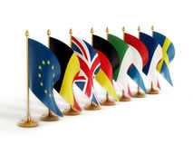 European Union Country Flags. European Union Founder Country Flags isolated on white background Royalty Free Stock Photos