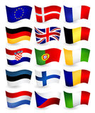 European Union country flying flags part 1 Royalty Free Stock Images
