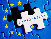 European Union crisis. Immigration text on missing puzzle Royalty Free Stock Images