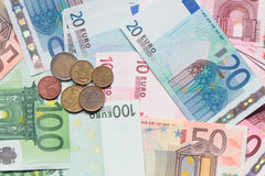 European Union Currency. Background made from various European Union Currency Royalty Free Stock Photos
