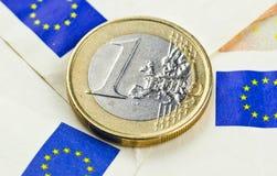 European union currency. One euro coin with european union flag symbol Royalty Free Stock Photo