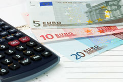 European Union currency. The European Union currency with calculator Royalty Free Stock Photos