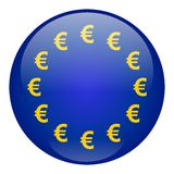 European Union Currency Button. Emblem of European Union on button, currency symbols instead of stars Stock Image
