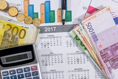 European union currency with calculator, business chart. On desk Royalty Free Stock Images