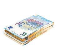 European union currency euro banknotes bills background. 2, 10, 20 and 50 euro. Concept success rich economy. On white background Stock Photo