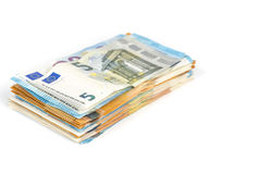 European union currency euro banknotes bills background. 2, 10, 20 and 50 euro. Concept success rich economy. On white background Royalty Free Stock Image