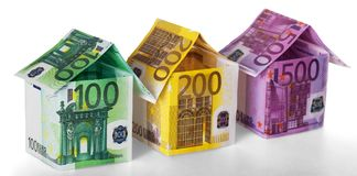 European Union Currency. Euro Houses. Currency houses luxury wealth retail sale business Stock Photography
