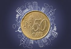 European union currency. Euro symbol european union coin coin two euro coin currency home finances stock illustration