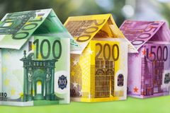 European union currency. House currency apartment finance residential structure paper currency Royalty Free Stock Image