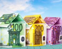 European union currency. House currency apartment finance residential structure paper currency Royalty Free Stock Photo