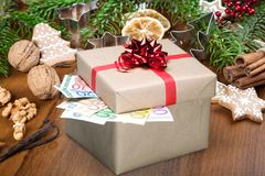 European Union Currency. Gift Currency Christmas Box Paper Currency Winning Stock Images