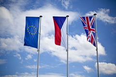European union, czech and english flag. Outdoor european union, czech and english flag - blue sky Royalty Free Stock Image