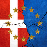 European union and Denmark flags Royalty Free Stock Photography