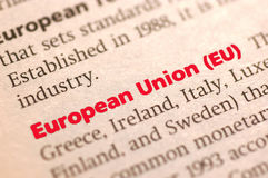European Union. Dictionary definition of European Union, Close up view, soft focus Royalty Free Stock Photos