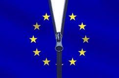 European Union Divided. Zipped European Union flag. EU breakup concept Royalty Free Stock Photos