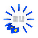 European Union Domino Effect. Isolated on white background. 3D render Royalty Free Stock Photos