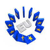 European Union Domino Effect. Isolated on white background. 3D render Royalty Free Stock Photography