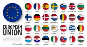 Free European Union . EU And Membership Flags . 3D Sink Circle Button Element Design . White Isolated Background And Europe Map . Royalty Free Stock Photography - 160377547