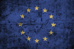 European Union & x28; EU & x29; flag with high detail of old dirty paper . 3D illustration Royalty Free Stock Photos